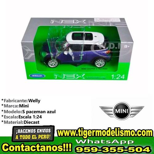 auto escala mini cooper s paceman azul welly 1/24 sku: 267