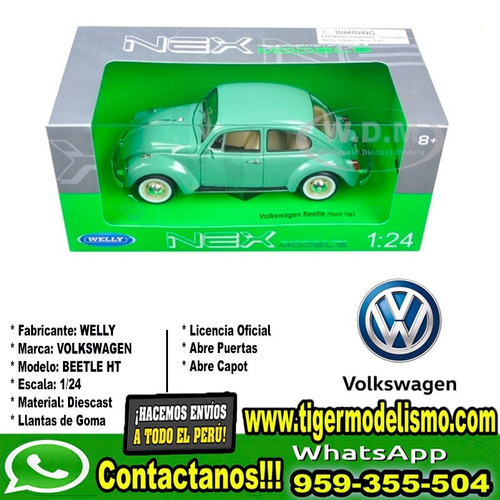 auto escala vw beetle celeste welly 1/24 sku: 223
