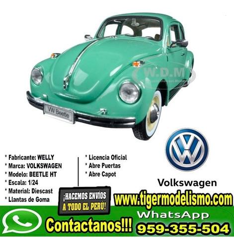 auto escala vw beetle celeste welly 1/24 sku: 223