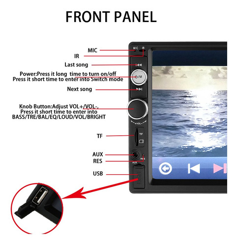 auto estéreo 2 din mirror link/control volante cámara 8 leds