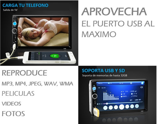 auto estereo pantalla touch 2 din bluetooth mp3 usb sd aux
