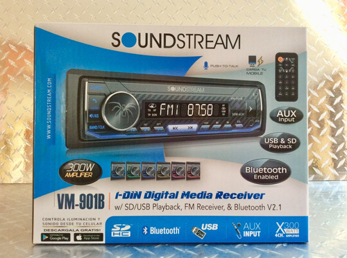 auto estereo soundstream vm-901b bluetooth multicolor usb sd fm caratula desmontable (6 meses de garantia)