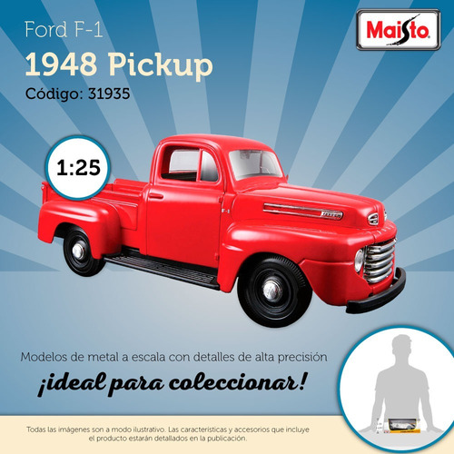 auto maisto escala 1:25 1948 ford f-1 pickup rojo pc