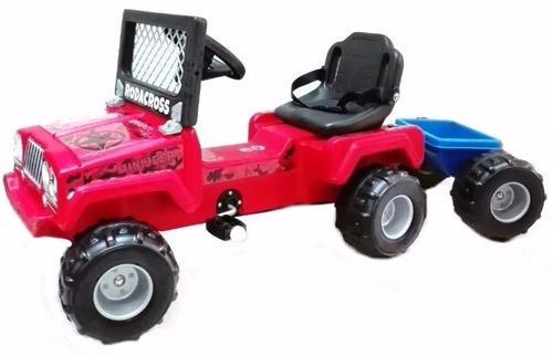 auto pedal a cadena karting jeep con trailer reforzado niño