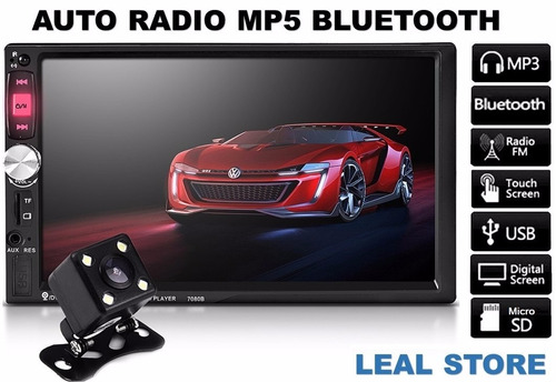auto radio bluetooth 7 pulgadas mp5 + camara reversa