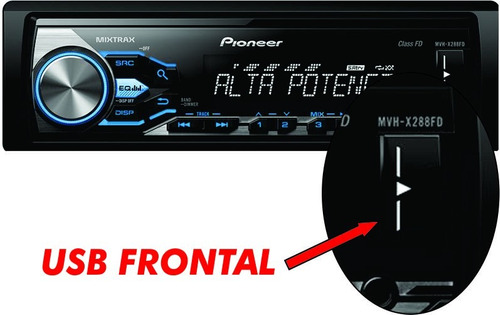 auto radio pioneer mvh-x288fd alta potencia 2016 usb 40wx4