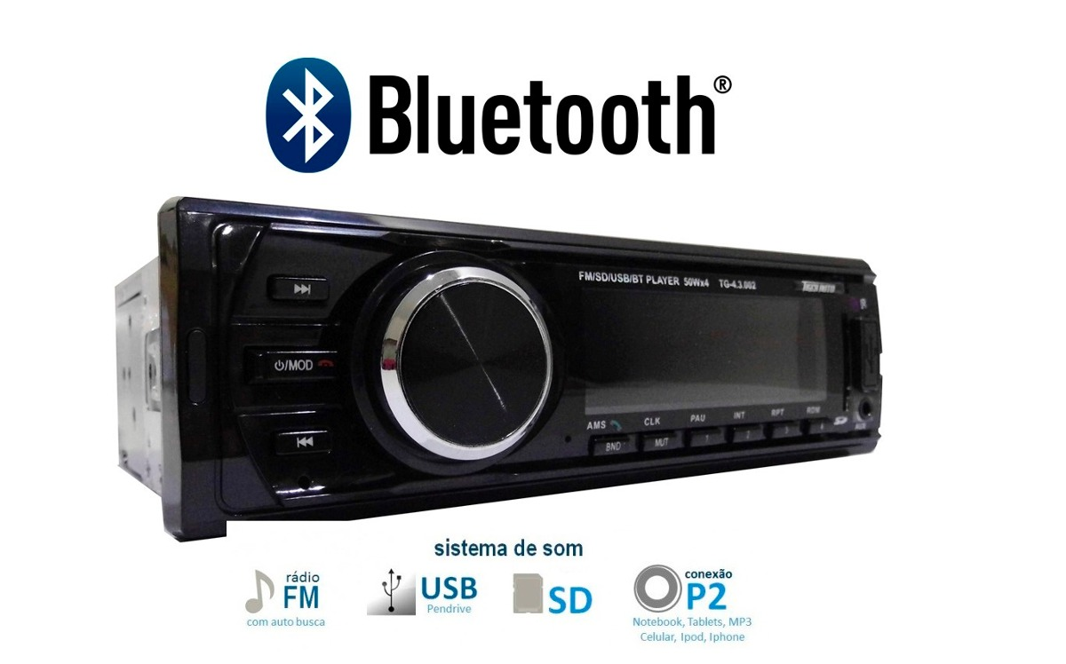 auto radio tiger mp3 player fm bluetooth usb sd controle. Black Bedroom Furniture Sets. Home Design Ideas