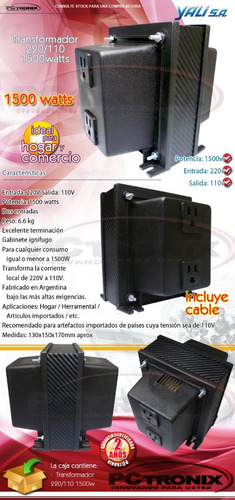auto transformador 220/110v 1500w ideal para importados usa