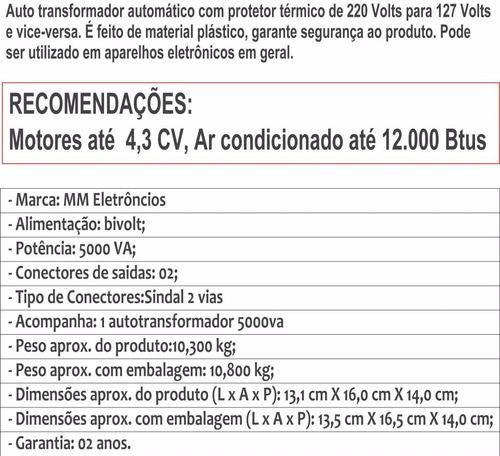 auto transformador automático bivolt 5000va até 12.000 btus