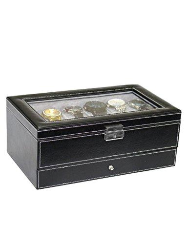 autoark negro cuero hombres 12 reloj caja organizador de