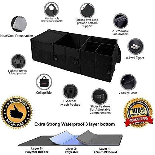 plegable y ajustable compartimentos de almacenamiento de carga SUV Autoark Organizador multiusos para maletero de coche duradero