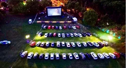 autocine con pantalla inflable, 250 autos, proyector laser