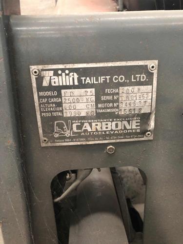 autoelevador diesel tailift 2,5tn c/desplazador envio a pais