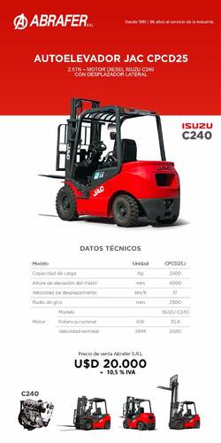 autoelevador jac diesel isuzu 2.5tn - 4.5mts.