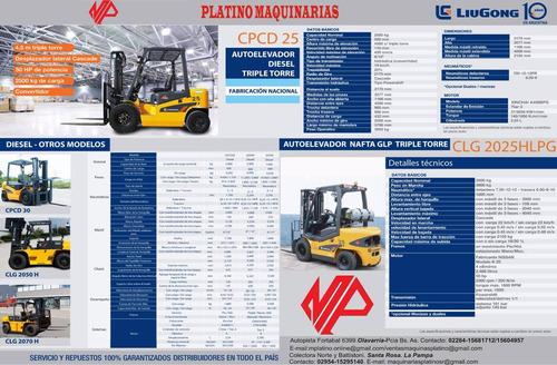 autoelevador mejor precio liugong 2,5 tn,diesel, 10 pagos