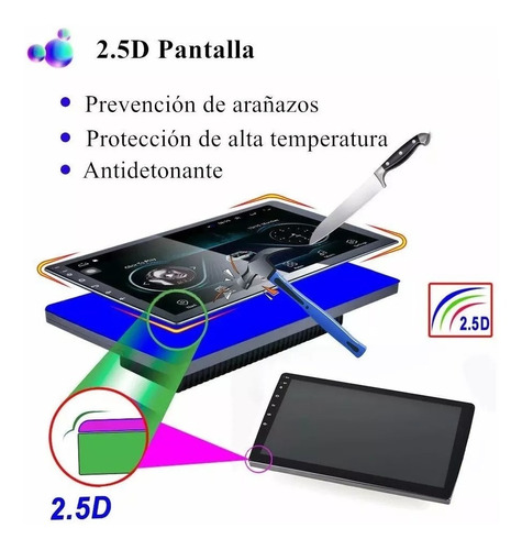 autoestéreo android 8.1 wifi gps 2din pantalla templada 2.5d