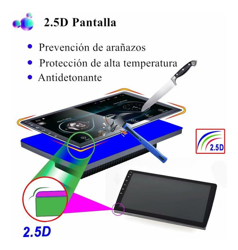 autoestéreo android 9.1 wifi gps 2din pantalla templada 2.5d