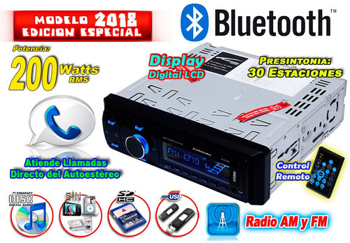 autoestereo bluetooth audiobahn entradas cd usb sd aux xaris