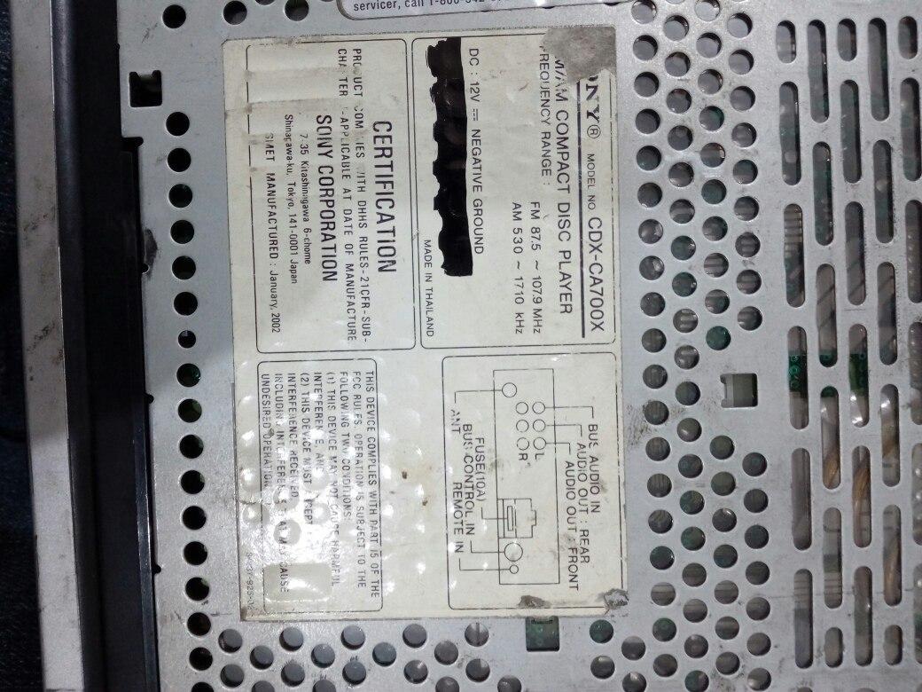 Autoestereo Sony Cdx Ca700x 55000 En Mercado Libre Wiring Diagram Cargando Zoom