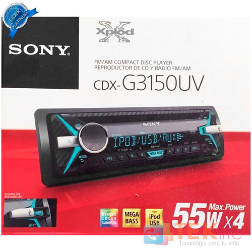 autoestéreo sony g3150uv mega bass lector cd ubs fm y aux