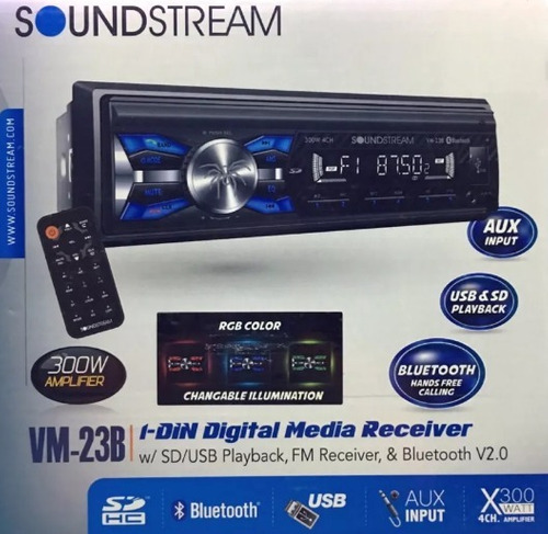autoestereo soundstream vm-23b bluetooth + 4 bocinas 6.5 mp3