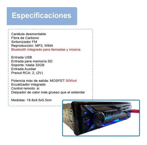 autoestereo vak 3700 desmontable bluetooth usb sd aux mp3 id