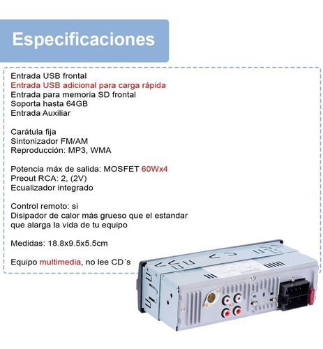 autoestereo vak 6295 multimedia doble usb y sd mp3 id3 wma