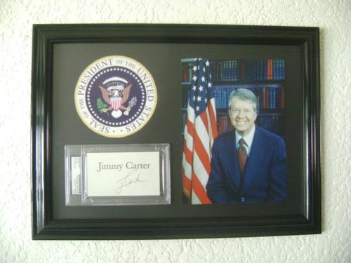 autógrafo original del ex presidente jimmy carter usa