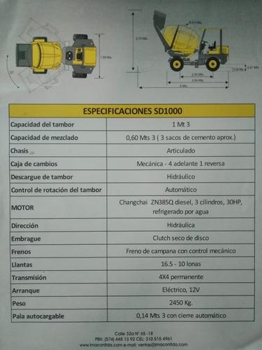autohormigonera-mezcladora de 0.5 m3 de capacidad
