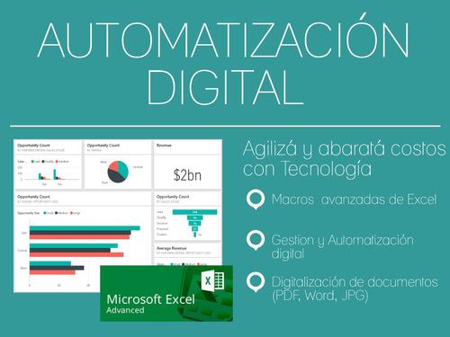 automatización digital - rpa, dpa, macros, excel avanzado,