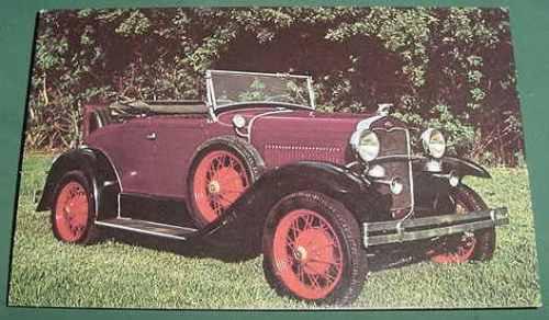 automobilia autos coches postal ford a modelo 1931 roadster