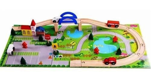 autopista de madera auto didactico ciudad vias para armar