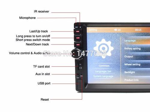 autoradio mp5 sensor de retroceso usb auto moto camioneta ce