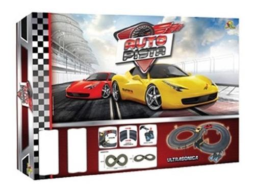 autorama eletrico pista de corrida com 2 carros sinalização