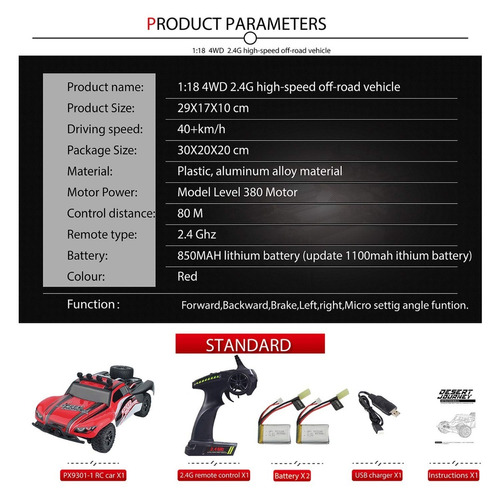 autos a control remoto 1/18 escala radio de 2,4 ghz, 4wd