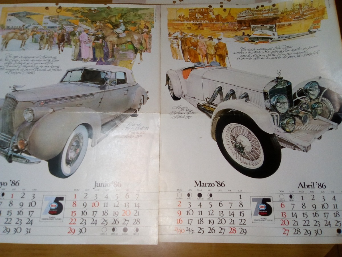 Calendario Junio 1986.Autos Laminas Calendario De Esso 1986 350 00