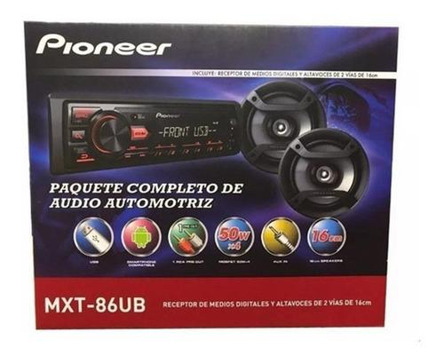 autostereo pioneer + parlantes 6  16cm mxt-86ub usb aux