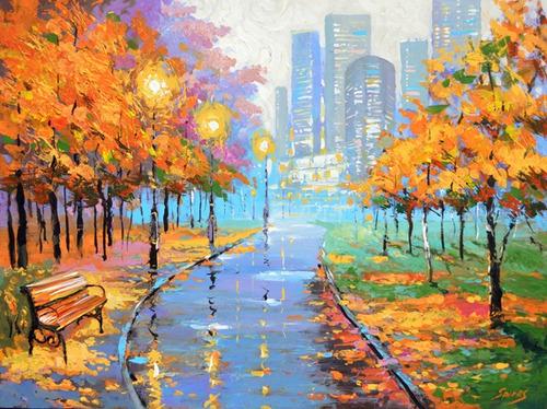 autumn in the big city - cuadros, pinturas de dmitry spiros