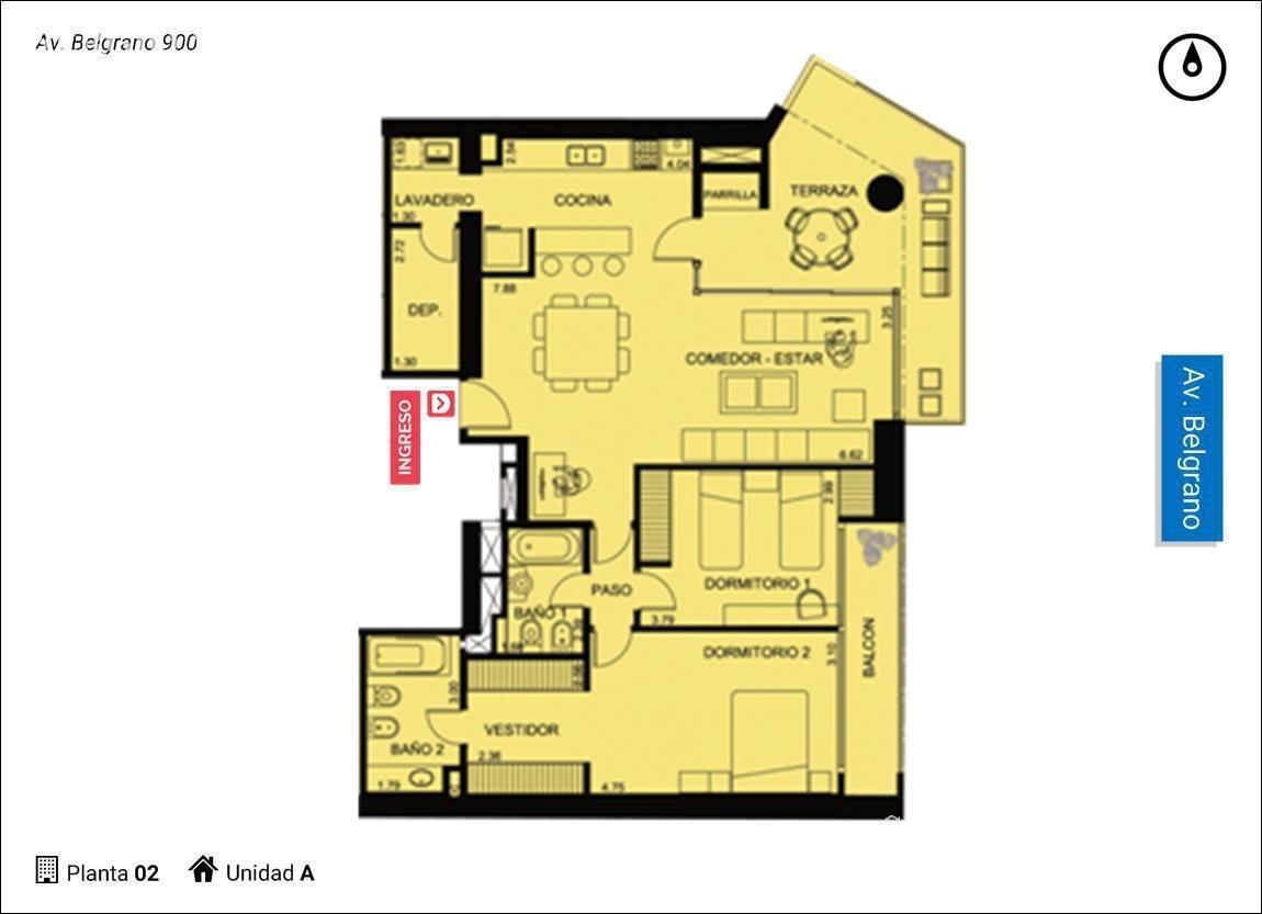 av. belgrano 900-departamento de dos dormitorios en venta en rosario.