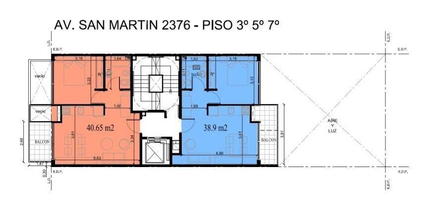 av san martin 2380 7º a paternal  - venta  2 amb 46m2 c/ ame