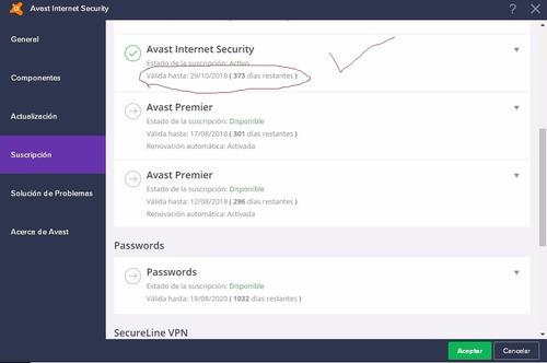 avast internet security 2018 valido para 1 pc 1 año