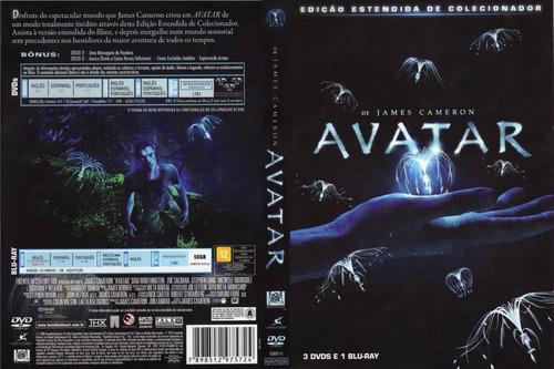 avatar edição estendida de colecionador (3 dvds + 1 blu ray)