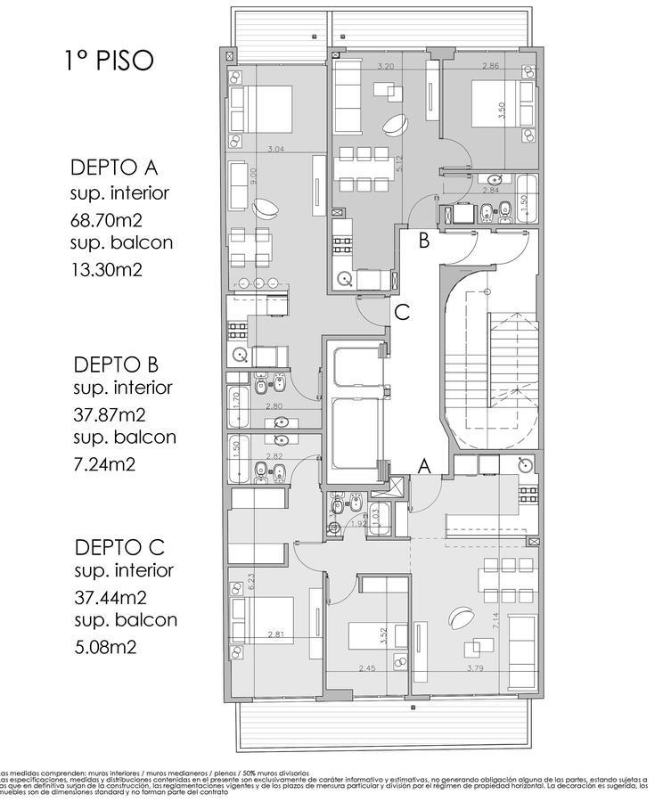 avellaneda 144 1a/ departamento de 3 ambientes al frente de categoría c/amenities