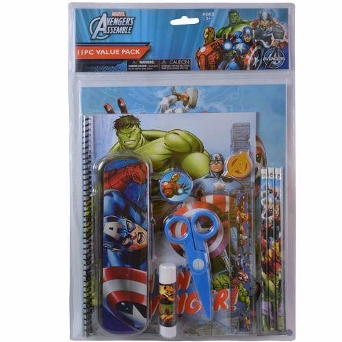 avengers 11pc value pack with plastic pencil case in pvc bag