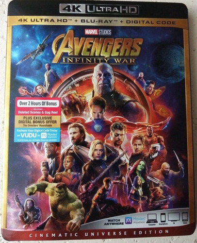 avengers infinity war 4k/bluray/digital env. gratis ed. amer