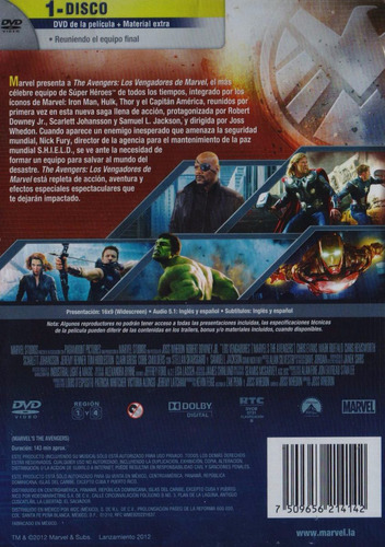 avengers los vengadores 1 uno pelicula dvd