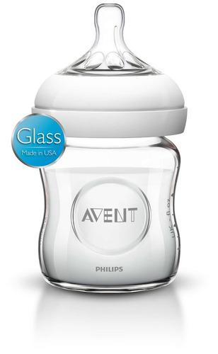 avent - biberón de vidrio para bebé de 120ml / 4oz natural