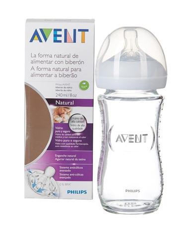 avent - biberón de vidrio para bebé de 240ml / 8oz natural