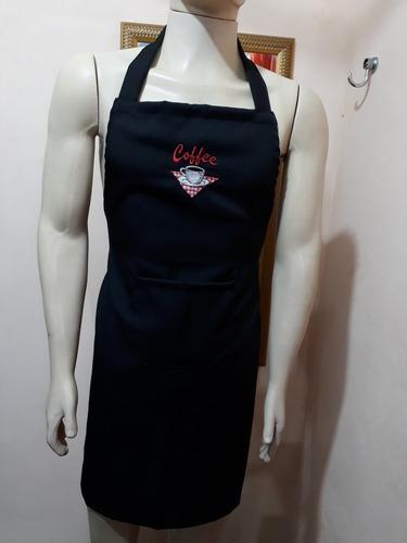 avental bordado café uniforme cozinha