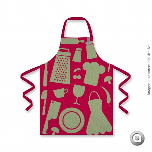 avental haus for fun cozinha xadrez fundo vermelho 70x75